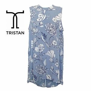 Tristan Sleeveless High Neck Striped Floral Blouse
